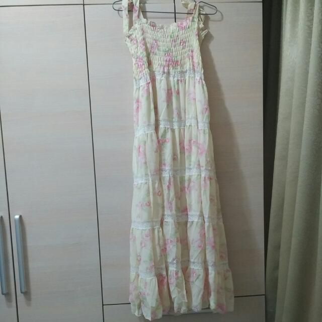 日系蕾絲雪紡長洋裝