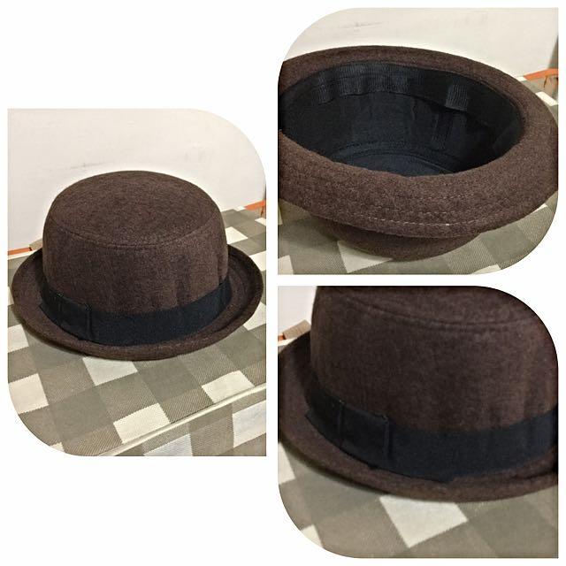 全新~毛泥圓頂紳士帽-咖啡色+黑色(含店到店運費)