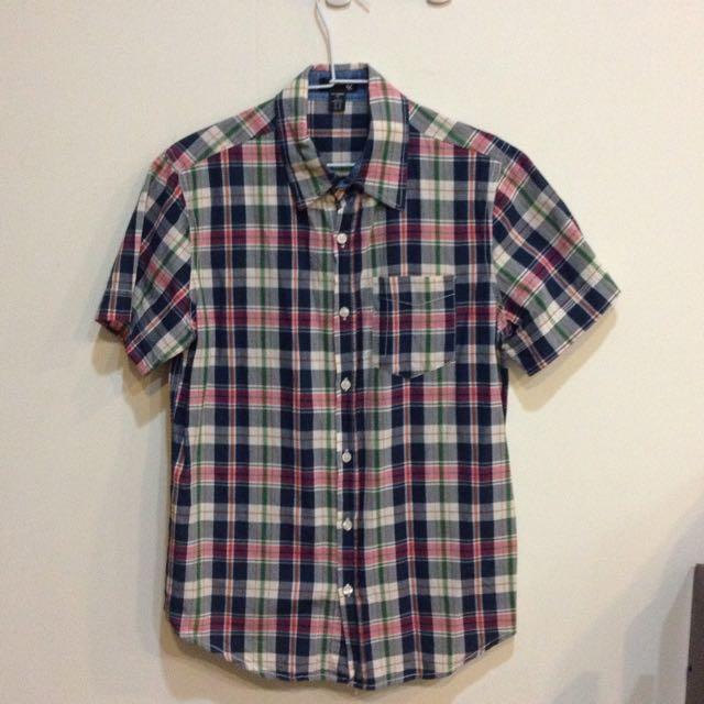 [二手]男版 5%短袖格紋襯衫