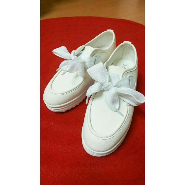 韓版圓頭蝴蝶結厚底鞋 5cm增高 全白