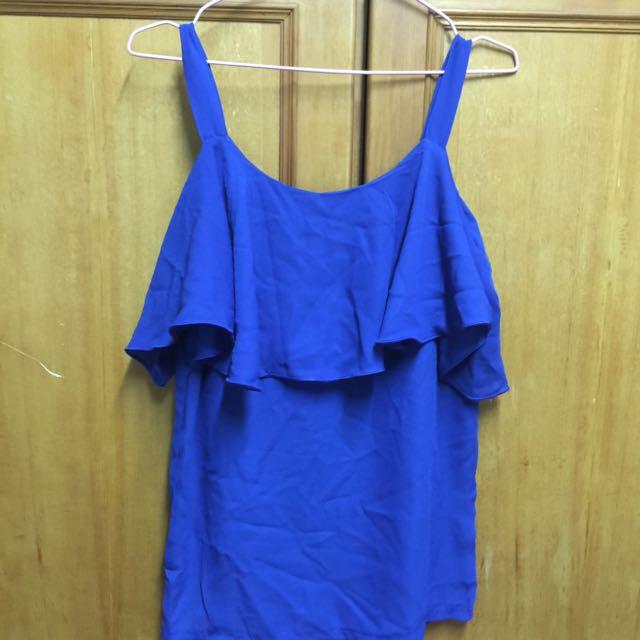 雪紡上衣 藍色
