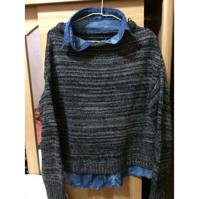 假兩件 混色毛衣