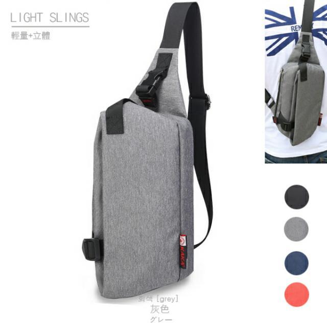 輕量立體防潑水斜背包 (小款)-灰色