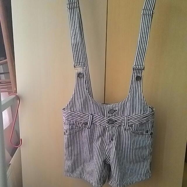 吊帶褲  條紋