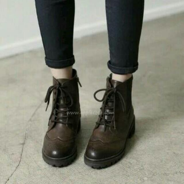 正韓 牛津面綁綁靴