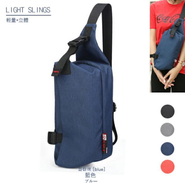 輕量立體防潑水斜背包 (小款)- 藍色