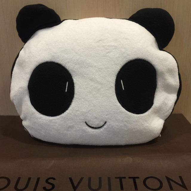 可愛熊貓兩用抱枕靠墊 內有珊瑚絨毯/空調毯/薄被