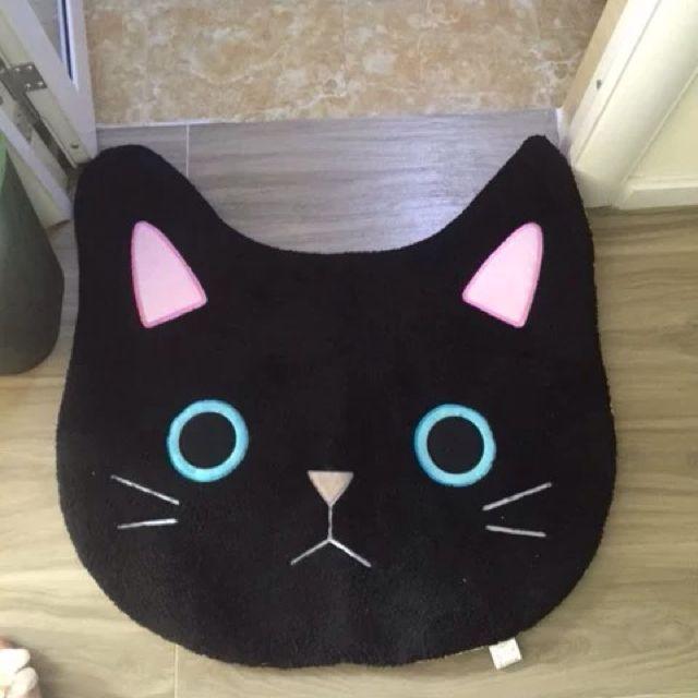全新現貨)日單 貓咪 地墊 腳踏墊 地毯 /黑貓