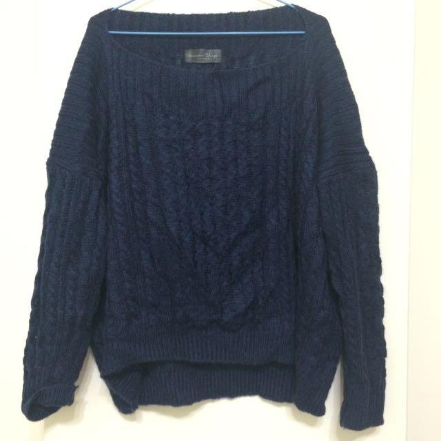 深藍色質感毛衣 Queen shop(含運)