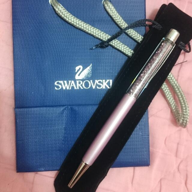 全新  swarovski紫色水晶筆