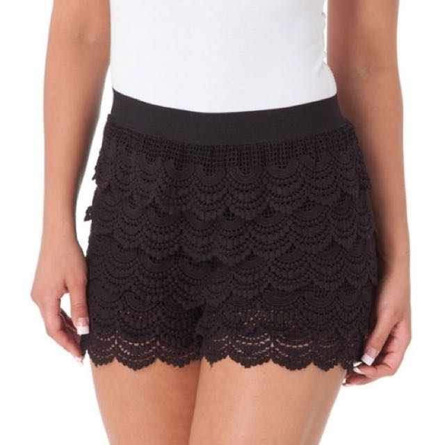 Black Crochet Shorts Womens Fashion On Carousell
