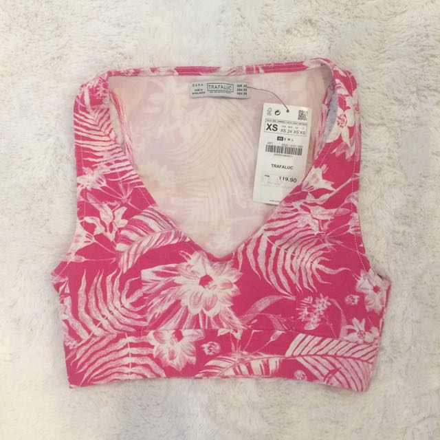 BNWT Zara Fuschia Pink Crop Top