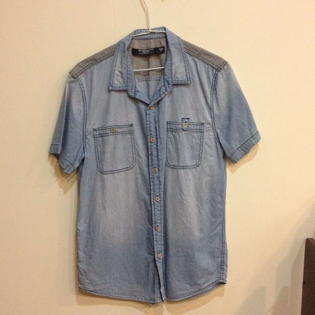 [二手]Giordano 牛仔條紋短袖襯衫