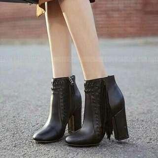 正韓 流蘇側拉鍊編織靴