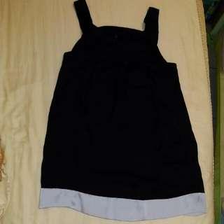 韓版黑色拼銀色雪紡洋裝(長版上衣)