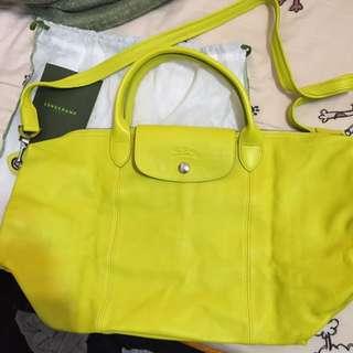 「下殺」Longchamp 小羊皮 手提短把 真皮 包 檸檬黃 限定