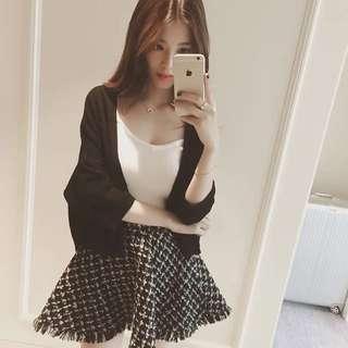 韓版黑色針織外套