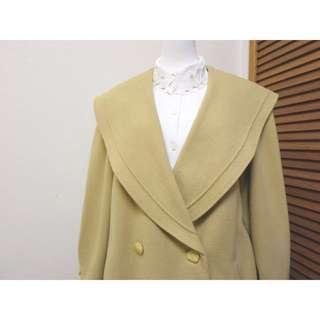 VOT0150206淺卡其色大翻領古著毛呢大衣