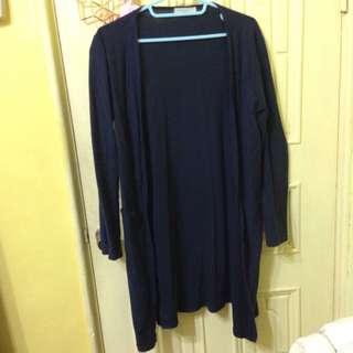 長版深藍色薄外套