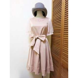 JDOP0151003日單刺繡雪紡拼接袖綁帶洋裝