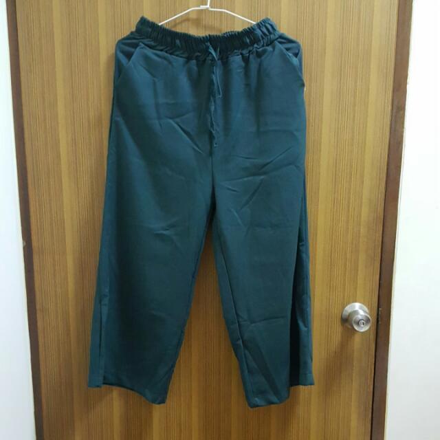 (保留)僅試穿,綠,寬褲