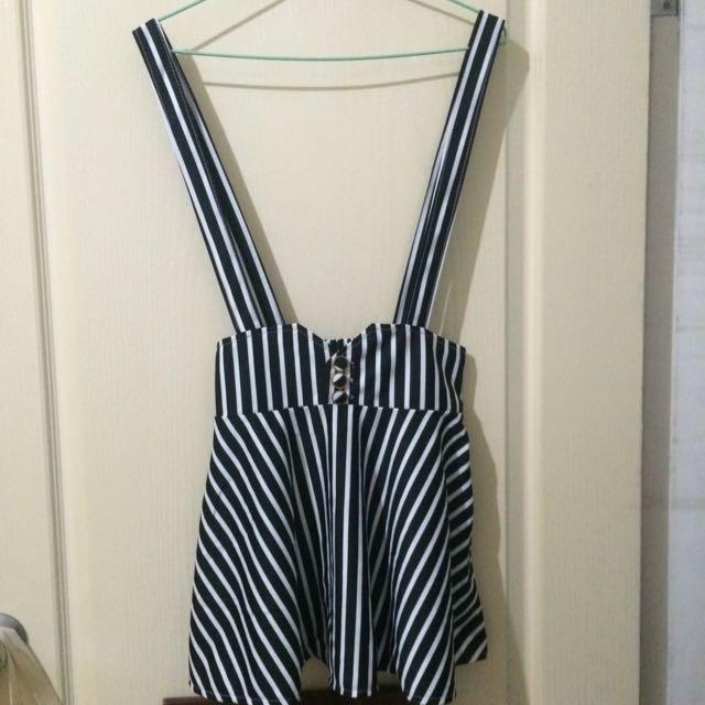 條紋高腰吊帶裙