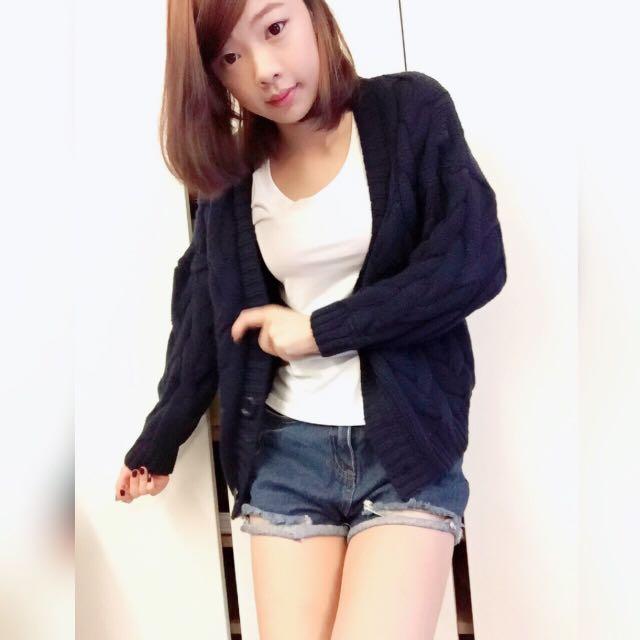 針織外套/深藍