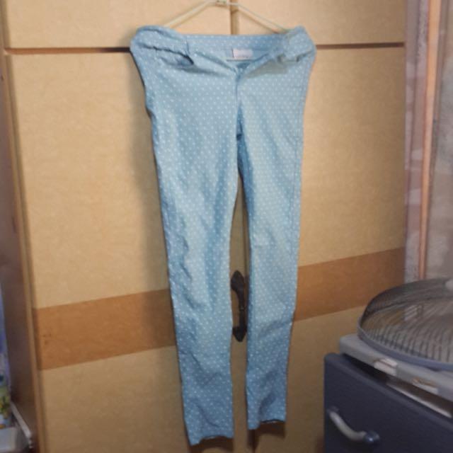藍色點點褲 緊身褲