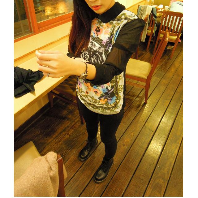 香港帶回潮店中國風白虎圖騰透膚襯衫 拼接現代硬挺立領