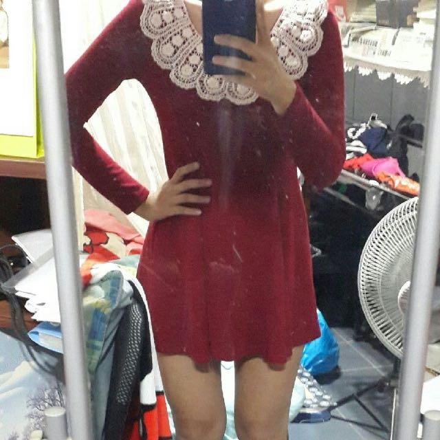 蕾絲 酒紅 傘洋裝 全新