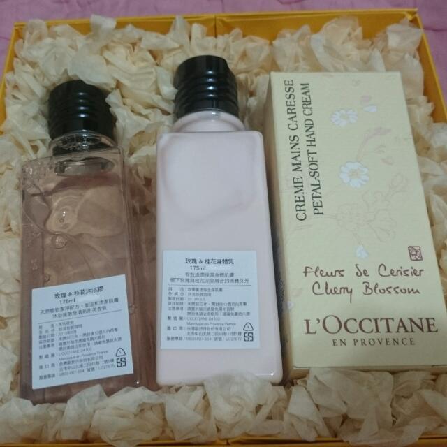 全新  歐舒丹 玫瑰桂花 沐浴、 身體乳 和護手霜超值組合