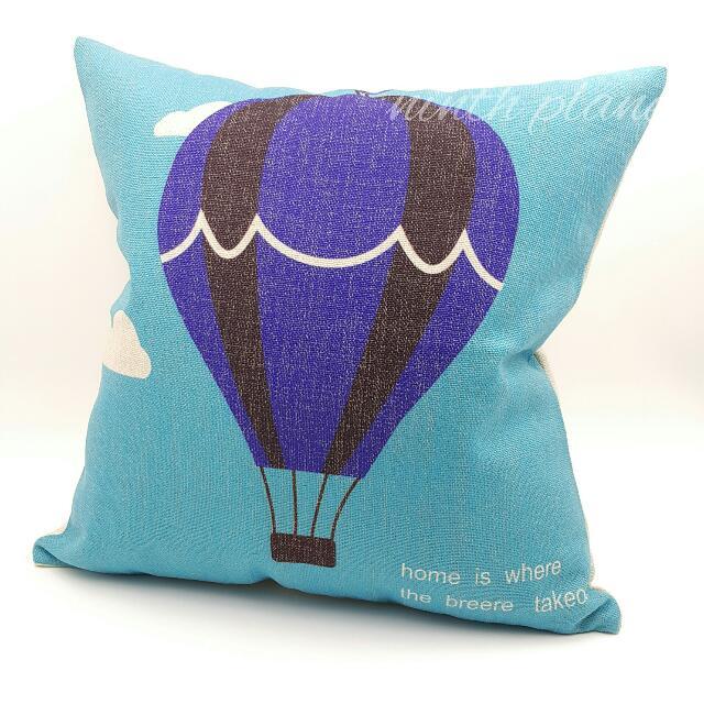 熱氣球款棉麻抱枕 藍黑條紋 zakka