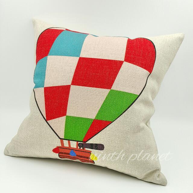 熱氣球款棉麻抱枕 彩色方格 zakka