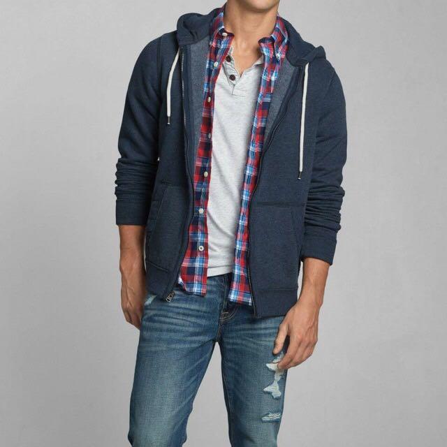 早秋特價 Abercrombie&Fitch 長袖鋪棉外套 藍 M號