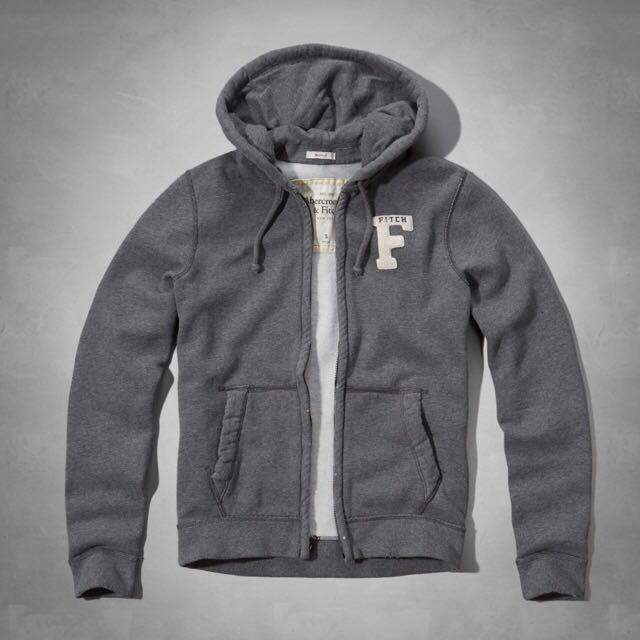 Abercrombie&Fitch 早秋特價鋪棉長袖外套 XL 灰