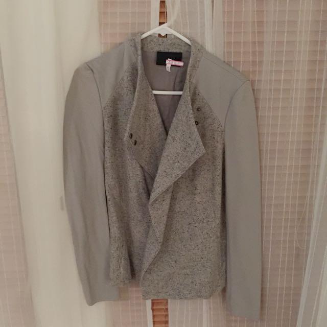 Grey Wool Jacket For Ladies