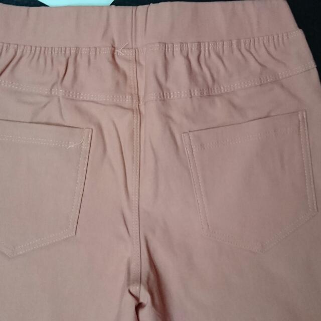 pazzo MIT 棉花糖色彩彈力美腿鬆緊長褲  甜橙桔,xs