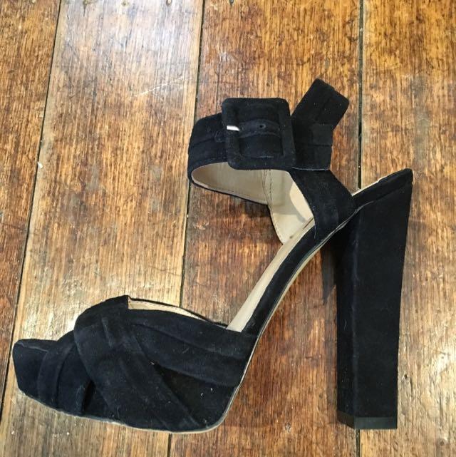 Siren Black Suede Strappy Heels