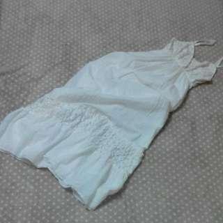 白色棉麻長洋裝