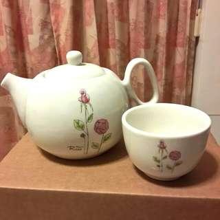 全新 陶瓷玫瑰下午茶組