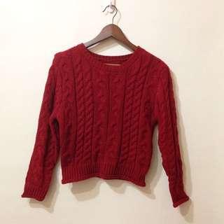 全新 紅色 麻花 毛衣