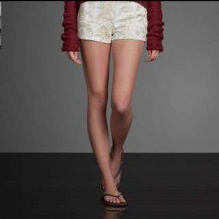 A&F gold embroidery shorts