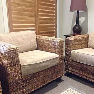 2x Gorgeous Natural Bamboo Armchairs