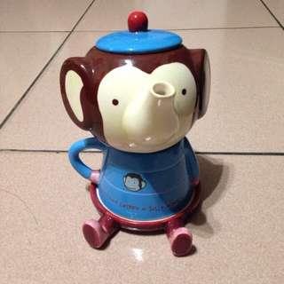 馬桶洋行小猴 造型茶壺杯子組