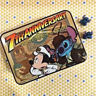 日本 迪士尼海洋 7週年限定 米奇史迪奇絕版鐵盒