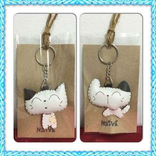 *Price Reduced! Smiley Cat Leather Keychain