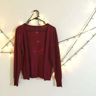 Summer Breezy Night Must Have! Red Cardigan With Unique Pleather Elbow Patch
