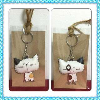 *Price Reduced!  Kawaii Cat Leather Keychain