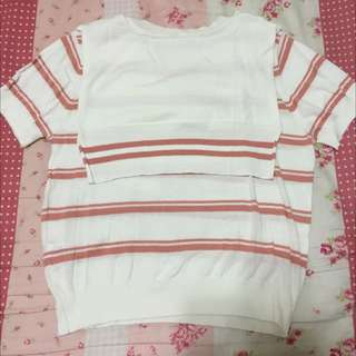 lovfee短袖粉色條紋(S)