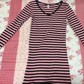 粉紅黑條紋長袖長版衣(F)